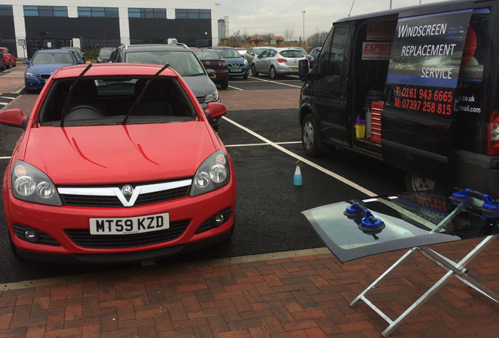 Windscreen Replacement being carried out
