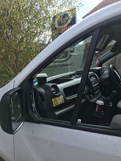Vauxhall Vivaro Door Glass Replacement After Salford Break-in - before